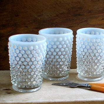 Vintage Hobnail Opalescent Juice Glasses - Fenton Glasses - Set of Three - Retro Cottage Decor