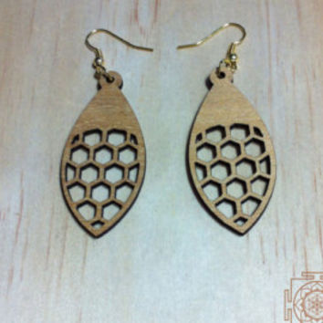 Flower of Life leaf earrings / laser cut / wood / sacred geometry / handmade earrings / brass / antique brass / silver / boho