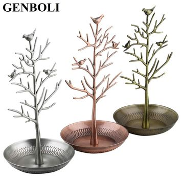 GENBOLI Retro Bird Tree Metal Bracelet Necklace Earrings Jewelry Display Stand Antique 3colors Craft Organizer Holder Show