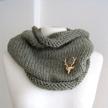 Knitted cowl olive green handmade infinity scarf loop snood