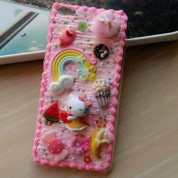 For iphone 8 plus DIY case 3D hello kitty phone cover for iPhone X 8 7 6 6s plus handmade cream candy case girl gift for iphone7
