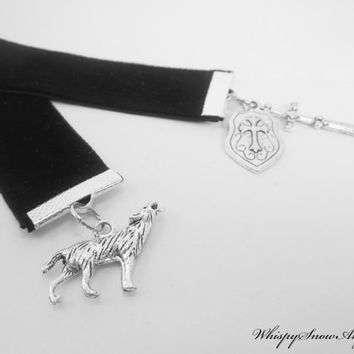 Fantasy Black Velvet Ribbon Bookmark Wolf Sword and Shield Charms House Stark Game of Thrones