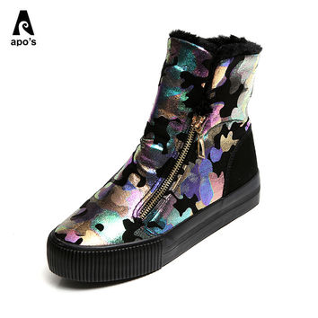 slipony women footwear 2016 Winter new Graffiti snow boots Flat with Camouflage Side zipper Women's shoes Martin boots sapato