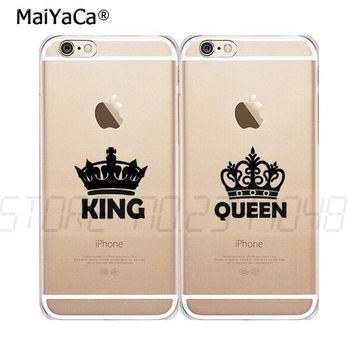 queen & king best friends BFF full rubber soft silicone transparent case for iphone 5s se 6 6s 6plus 7 7plus 8 8plus X XR XS MAX