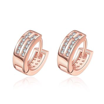 Parallel Huggie Earrings in Rose Gold