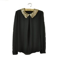 Women`s Ladies Sequins Pan Collar Long Sleeve Puff Sheer Loose Blouse Tops: Clothing