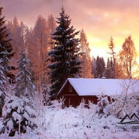 winter landscape photography instant download scandinavia finland old house in winter sunset in winter commercial use