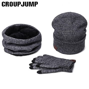 Fashion Winter Hats Scarf Gloves For Women Men Thick Cotton Winter Accessories Set Female Male Beanie Scarf Gloves 3 Pieces/Set