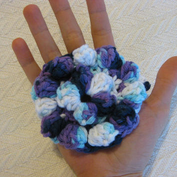 Crochet Shower Scrubbie 100% cotton with hand strap and hanging strap, blue, white, purple