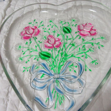 Heart Shaped Hand Painted Pink Roses Serving Plate or Platter