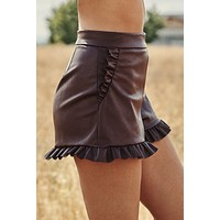 Talk About It Ruffle Trim Shorts (Wine)