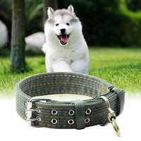 L XL Army Green Adjustable Dog Collars for Small Big Dogs Durable Comfortable Canvas Nylon Puppy Collar Pet 65cm 75cm Dog Collar