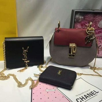 DCCKNT Year-End Promotion 3 Pcs Of Bags Combination (Chloe Bag ,YSL Mid Bag ,YSL Wallet) Colorful