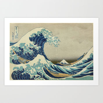 Great Wave Off Kanagawa. Japanese vintage landscape oil painting art. Art Print by ArtsCollection