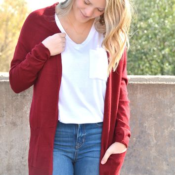 Easy To Pair Cardigan - Ruby