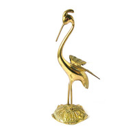 Egret, Vintage Bird Figurine, Heron, Antique Brass Statue, Red Glass Eye, Metal Home Decor