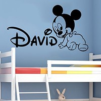 Wall Decals Personalized Name Mickey Mouse Vinyl Sticker Decal Custom Name Girls Boys Initial Monogram Children Baby Decor Nursery Kids Room Bedroom Art NS913