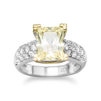 Rhodium and 14 Karat Gold Plated Yellow CZ Ring