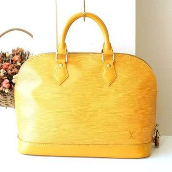 PEAPYD9 Louis Vuitton Bag Epi Alma Yellow Authentic Vintage Handbag