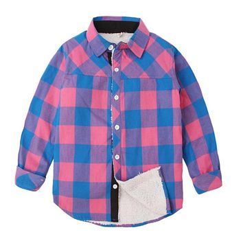 New Winter Clothes Kid Thick Plaid Shirt Long Sleeve Children Boys Warm Cotton Autumn Casual Clothing