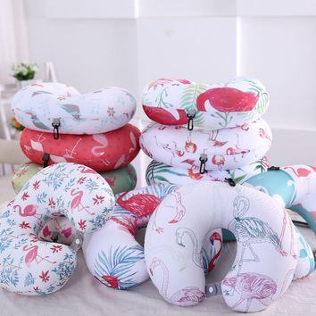Printed foam particle flamingo travel neck guard U Shape pillow
