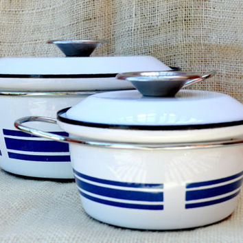 Cathrine holm Norway Blue Striped Enamel Pot // Blue and white stipe enamel pots // Mid Century Modern