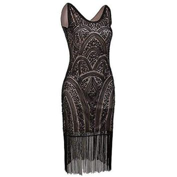 1920s Vintage Inspired Sequin Embellished Fringe Prom Gatsby Flapper Dress
