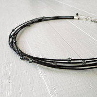 Black leather choker short layered necklace grey glass rocker minimalist