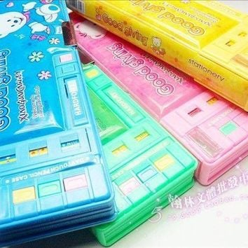 Multifunctional stationery box double faced automatic plastic pencil box