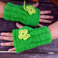 Green Gloves,Knit Mittens,Hand Warmer,Winter Gloves,Flower Knitted Gloves,Women Gloves,Arm Warmers,Crochet Gloves,Gift Ideas, Jasminejasmine