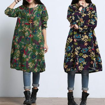 Maternity Clothes For Pregnant Dress Spring Autumn Fashion Long Sleeve Linen Printed Maternity Dress For Pregnancy Clothing W11