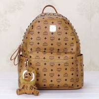 PEAP Hot MCM Print Women's Leather Backpack Bag Large Capacity Bag