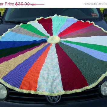 ON SALE Hand Crocheted Tunisian Stitch Round Patchwork Afghan