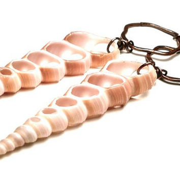 Sliced Shell and Copper Mixed Media Tribal Earrings