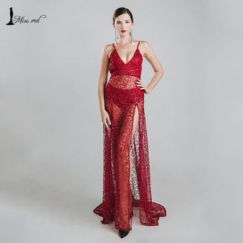 Missord 2016 Sexy halter  V-neck split party dress sequin maxi dress FT5131-2