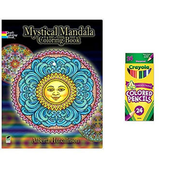 Adult Coloring Book Relaxation and Stress Relief Set of 24 Crayola Colored Pencils (Bundle of 2)