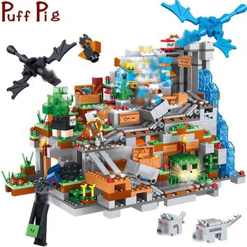 1315PCS MY World The Mountain Cave Steve Enderman Figures Light Building Blocks Compatible Legoed Minecrafted City Toys For Kids
