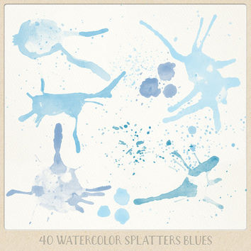Watercolor clipart splatter splashes (40) blue light blue lavender. hand painted overlays scrapbook design blogs cards printables wall art
