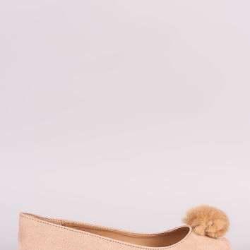 Bamboo Pom Pom Accent Suede Ballet Flat