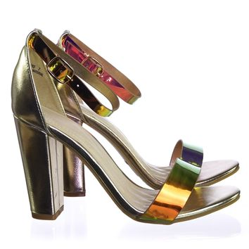 Frenzy98 Holographic Iridescent Classic Block Heel Two Piece Dress Sandal