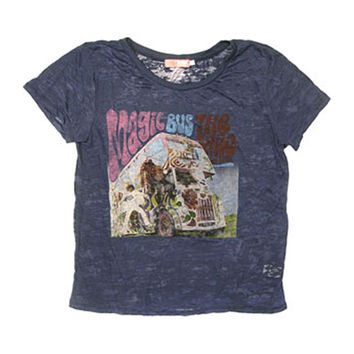Who  Burn Out Premium Fashion Girls Jr Vintage Tee Blue Rockabilia