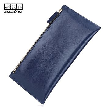 Promotion Genuine Leather Women Wallets 2017 Double Zipper Clutch Bag Ladies Wallet Long Purses Card Holders Slim Clutch Wallet