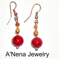 "Bohemian Earrings: Genuine Cherry Red Coral,  Pearl, Carnelian and Copper ""I Am Valuable""  By A'Nena Jewelry"