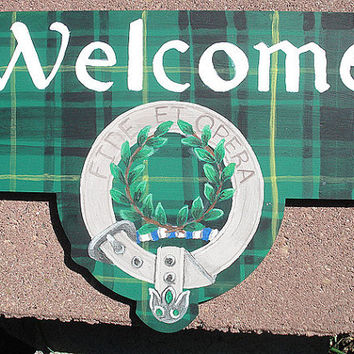 Clan MACARTHUR tartan and badge Welcome sign / plaque hand-painted wood made in the USA