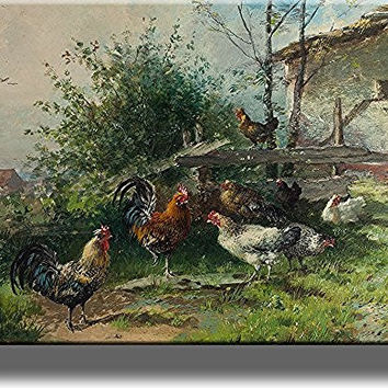 Rooster and Chicken Hens, Farm Animals Wall Picture on Stretched Canvas, Wall Art Decor, Ready to Hang!