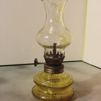 Mini Oil Or Kerosene Lamp Lantern Vintage Yellow Gold Molded Glass 6.5  Inches Tall |