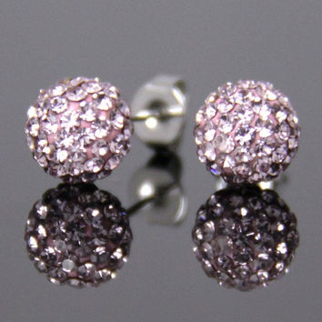 Hot Selling Fashion Diamante Sparkly Light Purple Crystal Rhinestone Disco Clay Ball Bling Silver Ear Stud Mini Earrings for Bride Wedding Party Birthday Gift (Size: 8 mm, Color: Light purple) = 1929369412