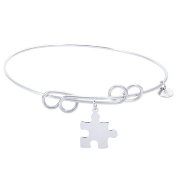 Sterling Silver Carefree Bangle Bracelet With Puzzle Piece Charm