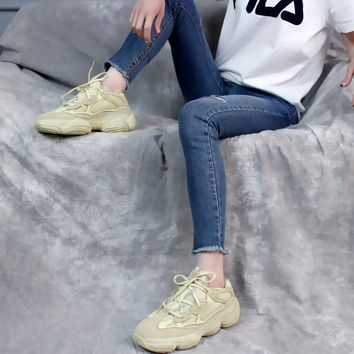 "[Free Shipping ]Adidas Yeezy Desert Rat 500 DB2966 ""Super Moon Yellow"" Basketball  Sneaker"