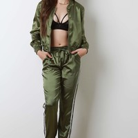 Satin Double Side Stripes Track Suit Set